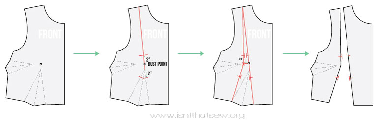 Learn how to make a princess seam pattern from a two dart bodice | www.isntthatsew.org