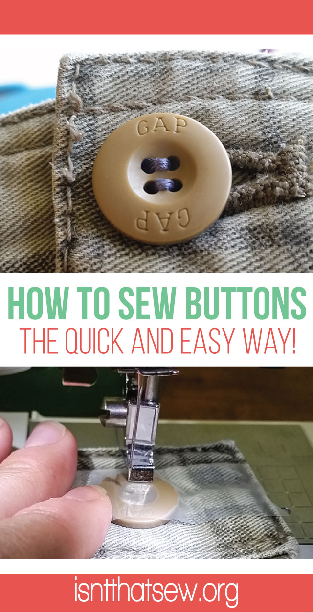 How to sew on a button, the easy way!   isntthatsew.org