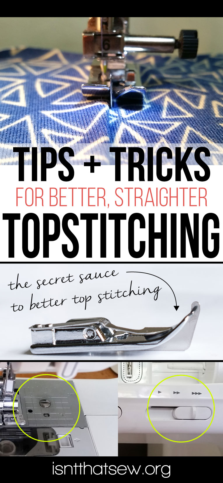 Tips and Tricks for better, straighter topstitching | isntthatsew.org