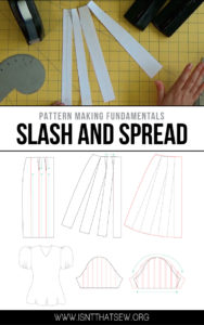 Learn how easy it is to turn a basic pencil skirt into an A Line skirt using the slash and spread method! | isntthatsew.org